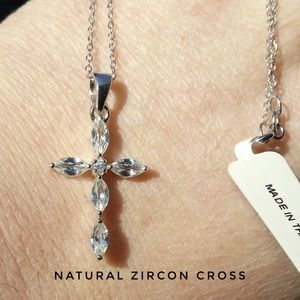 Natural White Zircon Cross